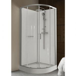 Leda Cabine de douche - 90 x 90 cm arrondie portes coulissantes - Kara