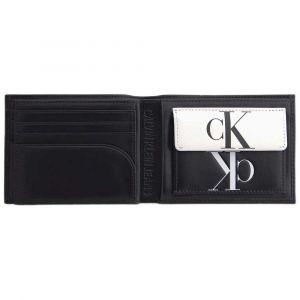 Calvin Klein Portefeuille italien 3 volets Mirror Monogram Billfold Jeans en cuir noir