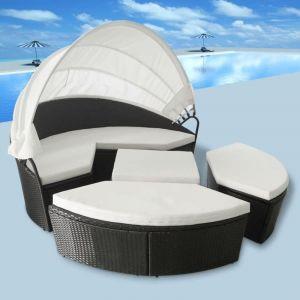 VidaXL Ensemble de chaise longue et auvent 2en1 Rotin Poly 11 pcs Noir