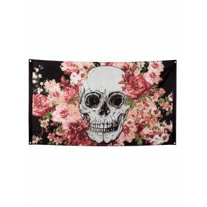 Drapeau squelette fleuri noir 90 x 150 cm Taille Unique