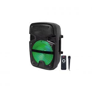 V-TAC Enceinte à batterie mobile avec Bluetooth VT-6208, microphone câblé et effet de lumière LED - RVB - 15W - avec télécommande