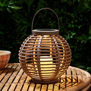 Lights4Fun Grande Lanterne Solaire Taupe Effet Rotin avec Bougie LED pour Jardin par