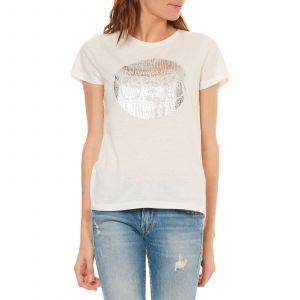 Le Temps des Cerises T-shirt col rond imprimé poitrine Kalogo Blanc - Taille L;M;S;XS