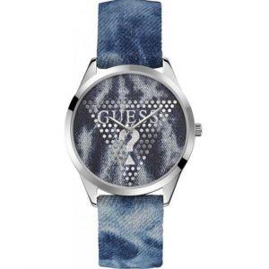 Guess : Montre W1144L1 - BLAZE Boitier Acier Gris Bracelet Cuir Bleu Cadran Bleu Femme