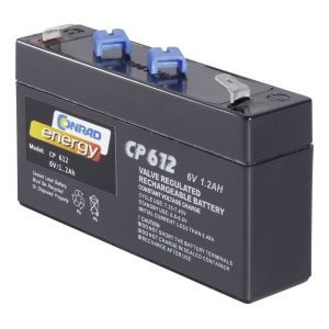 Batterie au plomb 6 V 1 2 Ah Conrad energy CE6V/1,2Ah plomb (AGM) (l x h x p) 97 x 51 x 25 mm connecteur plat 4,8 mm sans entretien