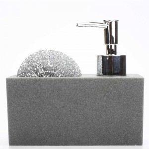 Distributeur de savon avec porte éponge en résine