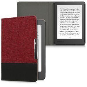 Kwmobile Housse canvas pour Kobo Aura Edition 2 - E-Book case cover en lin étui de protection en rouge noir