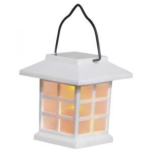 """Solarline Borne solaire lanterne - H 9 cm - Blanc - Borne solaire lanterne - 1 LED ambrée """"effet bougie"""" - Interrupteur marche / arrêt - Blanc"""""""