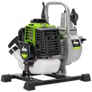 """Vito Garden Motopompe vide cave VITO Moteur essence 2T 33 cm3 Kit Complet pompe eaux chargées Tuyaux + accessoires 1""""Homologation TUV et CE"""