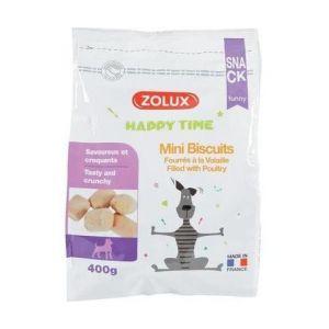 Zolux Happy Time Friandises Mini Biscuits Fourrés à la Volaille pour Chien 400 gr