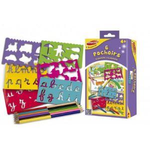 Joustra Set de 6 pochoirs avec crayons de couleur