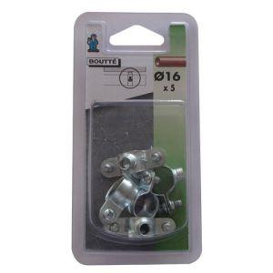 Boutté 1314316 - Collier fixation simple (lot de 5) Ø16 mm - Accessoire pose plomberie