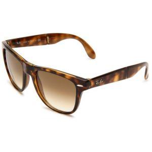 Ray-Ban Rb4105 Folding Wayfarer Light Tortoise Frame/Brown Gradient Lens Plastic Sunglasses, 54mm