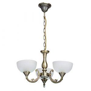 MW-Light 318011103 Lustre Suspension Pendentif à 3 Lampes Style Classique en Métal couleur Laiton Abat-jours en Verre Blanc Mat pour Salon Hall d'Accueil 3x60W E27