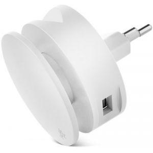 Usbepower Chargeur secteur 2 USB +enrouleur cable + support - Blanc
