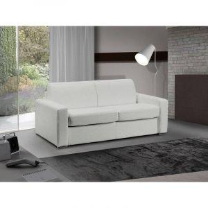 INSIDE Canapé lit 3 places MASTER convertible système RAPIDO 140 cm Cuir Eco Blanc MATELAS 18 CM INCLUS