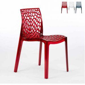 Grand Soleil Chaise transparente salle à manger Cafè empilable nid d'abeille GRUVYER   Rouge transparent