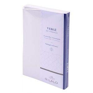 G. Lalo 25650L - 10 cartes Vergé 85x135 300g/m² + 10 enveloppes visite doublées, coloris extra blanc