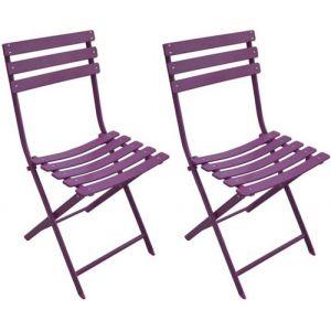 Proloisirs Chaise de jardin pliante en acier couleur prune NONZA
