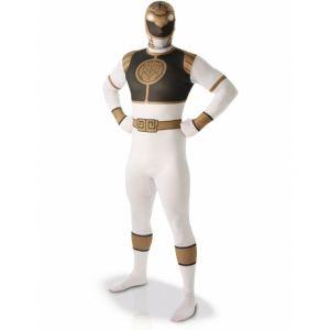 Déguisement seconde peau Power Rangers Blanc homme Taille M