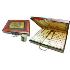 Hot Games Coffret de Mah-Jong XL en bois rouge le dragon de chine