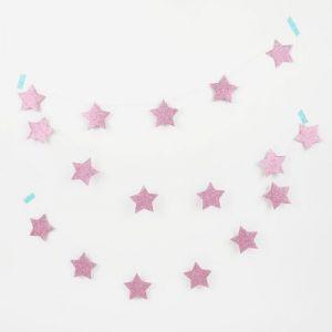 Guirlande étoiles pailletées roses