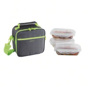 Be nomad SEP122V Set Sacoche Lunch box - Vert - Set lunch box sacoche isotherme, 3 boites alimentaires hermétiques de 600 ml