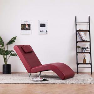 VidaXL Chaise longue avec oreiller Rouge bordeaux Similicuir