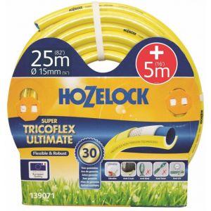 Hozelock Tuyau arrosage 25m diam 15mm + 5m tricoté 5 couches super tricoflex ultimate ultra léger, souple et robuste