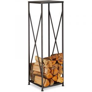 Relaxdays Etagère de Cheminée Rangement bûches Bois acier panier bois porte-bûches HxlxP: 111x34x34 cm, noir