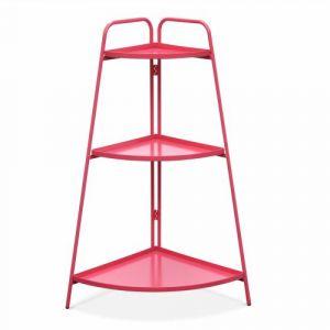 Alice's Garden Étagère d'angle Alicia rouge framboise, meuble de rangement pour intérieur et extérieur, 3 étages, acier peint par cataphorèse