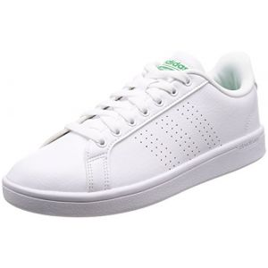 Adidas Cloudfoam Advantage, Baskets Homme, Blanc (Footwear White/Footwear White/Green), 42 EU