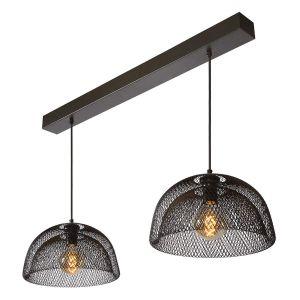 Lucide Suspension à deux lampes Mesh en noir