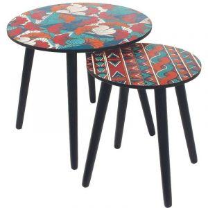 The home deco factory Tables gigognes plateau Wax (Lot de 2)