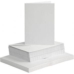 Cartes & Enveloppes, dimension carte 10,5x15 cm, dimension enveloppes 11,5x16,5 cm, blanc, 50sets