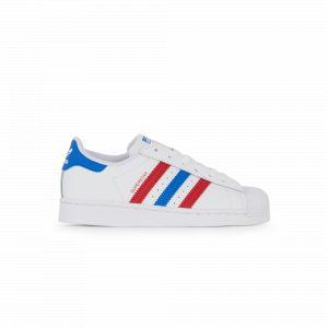 Adidas Superstar Tricolore Blanc/rouge/bleu - Enfant -