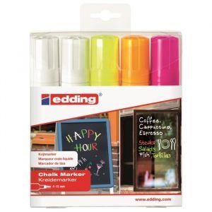 Edding Marqueur craie E-4090 - pointe ogive 4-15mm - coloris assortis - pochette de 5