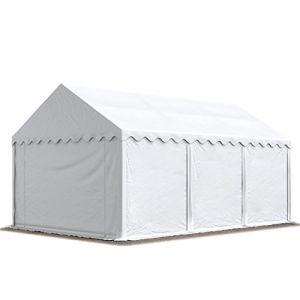 Intent24 Abri / Tente de stockage PREMIUM - 4 x 6 m en blanc - avec cadre de sol et renforts de toit, bâches en PVC haute densité 500 g/m² 100% imperméable, armature en acier galvanisé (antirouille), fixage par boulonnage.FR
