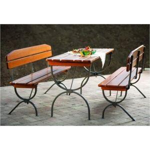 Foresta Set de jardin pliable 1 table avec 2 bancs