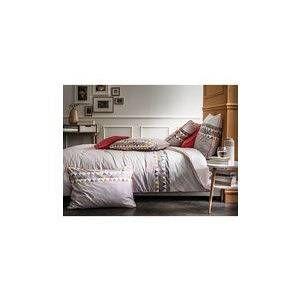 Blanc Cerise Housse de couette 100% percale de coton imprimé frise triangles BERLINGOT SUCRE Taupe/Coquelicot 260x240cm