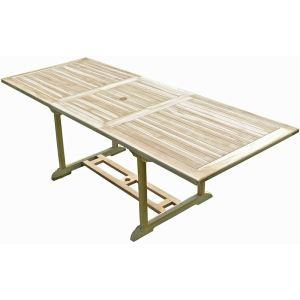Table de jardin rectangulaire Amara en teck massif 170/230 x 90 x 75 cm