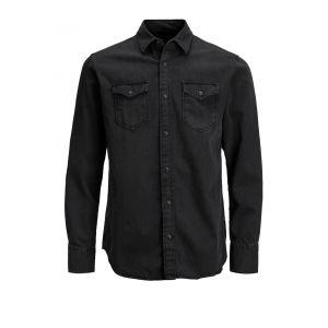 Jack & Jones Jjesheridan Shirt L/s Chemise en Jean, Noir (Black Denim Fit:Slim), Medium Homme