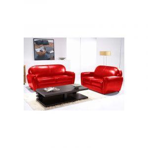 Canapé club 3 places rouge - Confort et Originalité