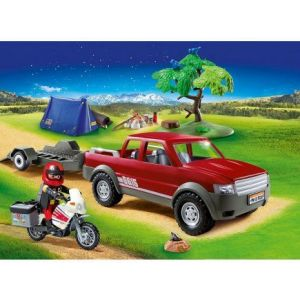 Playmobil Jeu Family Fun Pick-up et moto avec tente