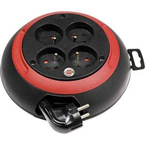 Brennenstuhl Mini enrouleur electrique Design-Box CL-S 4 prises ((3m câble H05VV-F 3G1,0, Utilisation Intérieur IP20, Noir&Rouge), Fabrication Française