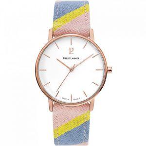 Pierre Lannier Montre 192G924 - CATALANE Bracelet Tissu Multicolore Boîtier Acier Doré Rose Femme