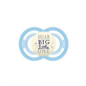 Mam Sucette Perfect Night S142 avec tétine extra fine et flexible en silicone SkinSoftTM ultra douce, pour bébé de 6 + mois, brille dans l'obscurité, bleu (1 unité) avec boîte auto-stérilisable