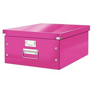 Leitz 6045-00-23 - Boîte de rangement Click & Store, format A3, en PP, coloris rose métallique