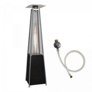 Proweltek Parasol chauffant TOTEM 13KW pyramidal tube quartz pour terrasse chauffage exterieur detendeur et tuyau gaz