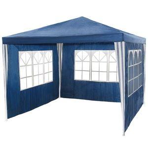 TecTake Tonnelle de jardin bleue avec panneaux latéraux 3 m x 3 m x 2,50 m